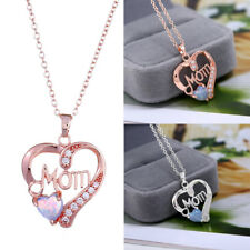 For Mom Heart-shaped Opal Silver Women Crystal Pendant Chain Charm Necklace Gift
