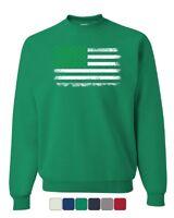 Shamrock American Flag Sweatshirt Stars and Stripes St. Patrick's Sweater