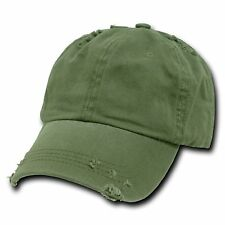 Olive Green Vintage Distressed Weathered Torn Polo Baseball Cap Caps Hat Hats