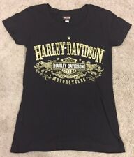 Womens Medium Harley Davidson Black S/S Graphic T-shirt Tee Gold Spell Out Badge