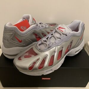 New Supreme X Nike Air Max 96 Sneakers Silver/Red US 11 #CV7652-001