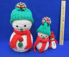 Snowman Styrofoam Balls White Knit Overlays Red Green Knit Hats Scarves Lot of 3