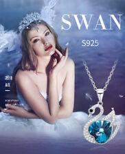 Halskette Schwan Herz Anhänger mit SWAROVSKI® Kristallen 925 Sterling Silber Neu