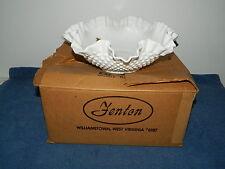 Vintage Fenton Large White Milk Glass Hobnail Ruffled Dish Bowl in Original Box