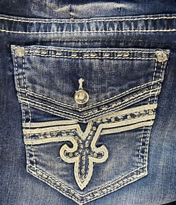 """NEW NICE!! Rock Revival """"Lam"""" Easy Crop Embellished  Jeans Size 36 NWT!!  Bling"""