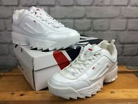 FILA LADIES DISRUPTOR II WHITE PATENT ROSE GOLD TRAINERS RRP £80 VARIOUS SIZES