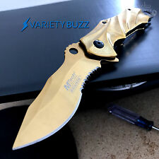 MTECH USA TACTICAL GOLD ASSISTED KNIFE Open Folding Pocket Blade RESCUE