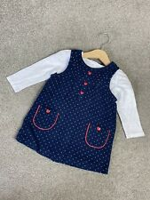 Baby Girl 9-12 Months Pinafore Dress Long Sleeved Top Outfit Spotty Mini Club