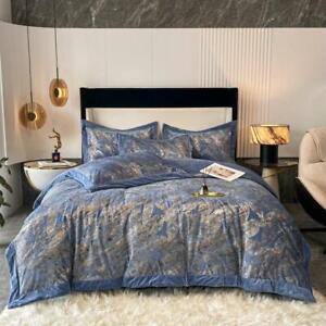 bedding set 4pcs Super warm soft quilt cover flat sheet set Bronzing Banana Leaf