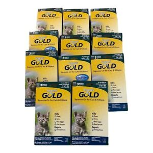 Sergeants Gold 6 Mo. Squeeze On for Cats/Kittens 3-5 Lbs. Lot of 11 Packages