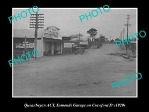 OLD 8x6 HISTORIC PHOTO OF QUEANBEYAN NSW ESMONDS GARAGE CRAWFORD St c1920s