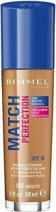 Rimmel Match Perfection Foundation #501 Noisette  (Pack of 3 x 30ml)
