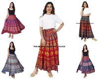 5 PC en Gros Ethnique Enroulé Imprimé Coton Long Taille Jupe Indien Femme