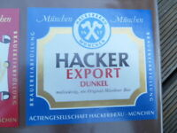 HACKER PSCHORR  BREWERY EXPORT BLUE  GERMAN BEER LABEL UNUSED