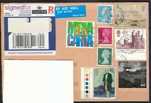 Great Britain 2013 cover sent to Lithuania. NICE FRANKING !!! High values