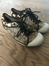 Coach Womens Zorra Tan Brown Leopard Size 7 Sneakers Shoes Signature