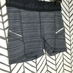 GUC Lululemon What the sport shorts deep coal striped gray Size 4 Side pockets