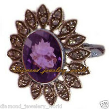 Studded Silver Vintage Style Ring Jewelry 1.73cts Pave Rose Cut Diamond Amethyst