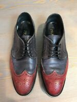 PRATESI Women's Blue Red Italian Leather Wingtip Lace Up Casual Oxfords 37 US 7