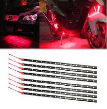 8X Red 30CM/15 LED Car Motor ATV UTV Decor Flexible Light Strip Waterproof 12V