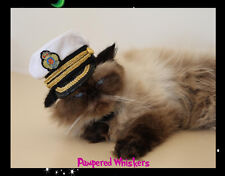 "Captain hat for cats and small dogs with 6-11"" collar size"