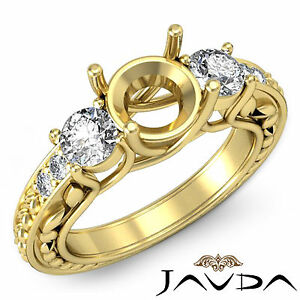 Round Semi Mount Diamond 3 Stone Engagement Trellis Ring 18k Yellow Gold 0.45Ct