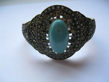Signed Heidi Daus Jeweled Bracelet with Turquoise Colored Cabochon