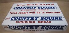 Orig 1960s COUNTRY SQUIRE BREAD Store Display Rack Adv Sign We're all sold out