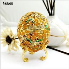 Quality Golden Crystal Faberge Russian Egg Easter Trinket Imperial Jewellery Box