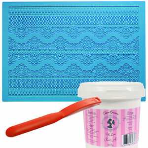 Cake Lace Starter Kit Mat Spreader Claire Bowman Gold Black White flexible icing
