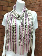 MISSONI MULTI WAVE PINK, GREEN, BLACK & SILVER FINE KNIT SCARF MADE IN ITALY