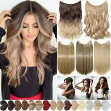 Secret Wire In REAL As Human Hair Extensions Hidden Halos Wrap Band Curly Ombre