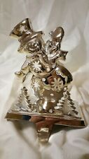 Snowman Christmas stocking hanger holder Silver colored metal