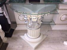 Medusa Mäander Dekosäule Säulen Tisch Barock Style Beleuchtet Silber 6827 70+28