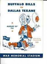 1961 Buffalo Bills-Texans AFL Exhibition Program RARE!!