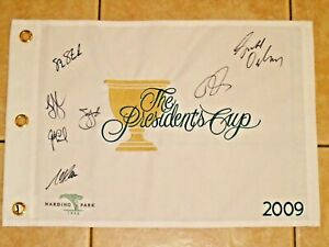 2009 Presidents Cup Harding Park Golf Flag signed by 7 Steve Stricker J Leonard