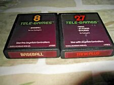 2 Tele-Games Atari 2600 Game Cartridge Cleaned Baseball/Tank/JetPlane/BiPlane