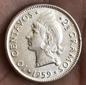 DOMINICANS REPUBLIC 1959 10 CENTAVOS SILVER UNC. VERY NICE CONDITION LRD.