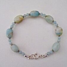 AMAZONITE & STERLING SILVER BEADED BRACELET ~ A BEAUTY!