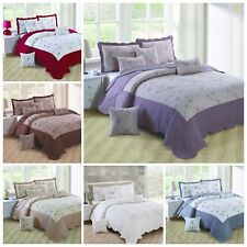 New Beautiful Embroidery Quilted Bedspread Throw & 2 Pillow Shams Free  P&P UK