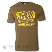 MILITARY PRINTED US ARMY VIETNAM SURF TEAM T SHIRT OLIVE GREEN MILITARY