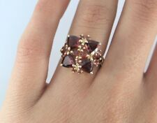 THL 10K Solid Yellow Gold Trillion Cut Round Garnet Cocktail Ring Band Size 6.25