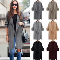 Women's Lapel Trench Coat Long Sleeve Cardigans Casual Jacket Open Front Outwear