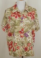 8786f135b2f83 Lemon Grass Top Shirt Women Size XL Button Front Blouse Short Sleeve Floral