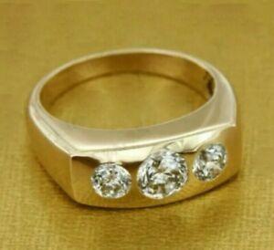 2.00Ct Round Three-stone Diamond 14k Yellow Gold Over Men's Engagement Band Ring