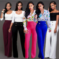 Women Palazzo Wide Leg High Waist Flared Trousers Loose OL Office Pants Casual