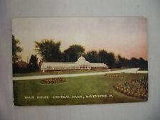 VINTAGE POSTCARD THE PALM HOUSE IN CENTAL PARK DAVENPORT IOWA 1911