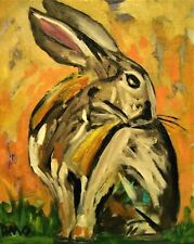 original Oil Painting Rabbit Hare impressionist abstract Artwork D.Oberling