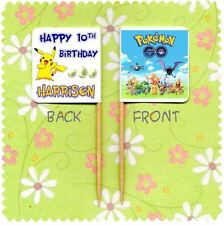 20 PERSONALISED POKEMON GO CUP CAKE FLAG Party Pick Topper Decoration Birthday