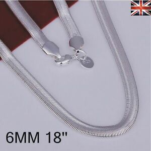 "Men Women 925 Sterling Silver Plated 6MM Snake Necklace Chain Jewellery 16""-24"""